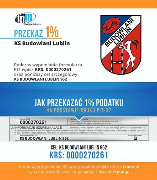 1 procent podatku na KS Budowlani Lublin